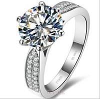 anéis de noivado venda por atacado-3 ct anéis de diamante sintético alianças de casamento de prata esterlina para as mulheres anéis de noivado para as mulheres de ouro branco 18 k transporte da gota