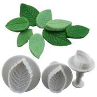 Wholesale Rose Leaf Cutter - Hot Sale New 3 Pcs Cake Rose Leaf Plunger Fondant Decorating Sugar Craft Mold Cutter Tools Drop Shiping