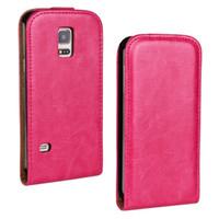 crazy phone cases venda por atacado-Atacado new arrival crazy horse leather flip case para samsung galaxy s5 mini com abrir e descer phone case frete grátis