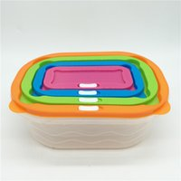 Wholesale Blue Microwave Oven - Seal Up Storage Boxes Rectangle Leak Proof Plastic Lunch Box Easy To Clean Resuable Organizer For Microwave Oven 11 75tt B