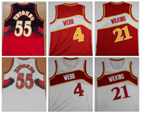 Wholesale Red Reels - Throwback 4 Spud Webb Jersey 21 DominiqueWilkins Basketball Jerseys The Human Highlight Reel Retro 55 Dikembe Mutombo College Stitched