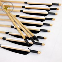 Wholesale 12 cm Nice Wood Shaft Arrows Field Point head Black and White Turkey Feather Fletching Self Nock Archery