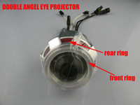 "Wholesale Bixenon Projector H7 - GPS 2.0ABT H1 H4 H7 motorcycle hid bi xenon projector lens light White Blue Double Angel Eyes 2.0"" 35w Motorbike Bixenon Headlight"
