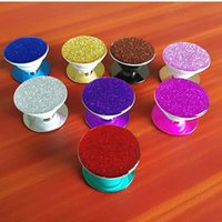 Wholesale Wholesale Glitter Glue - Luxury Electroplated Glitter Pop Cell Phone Mount Holder Stand 3CM Glue For Iphone X 8 7 6 5S Universal Holder With Retail Package