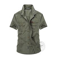 Wholesale Military Dress Xxl - Wholesale-top quality fashion men cotton dress shirts short sleeve military uniform casual shirts M L XL XXL 3XL JP15663