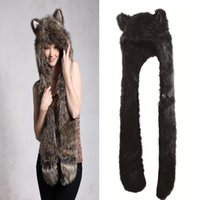 Wholesale Fur Scarf Hat - S5Q Women Girl Lady Cute Animal Fur Hat Winter Cap Halloween Christmas Gift AAACOX