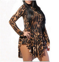 Wholesale L Kimono Top - Hot Sexy Dress Long Sleeve Irregularity Leopard Bodycon Dress S-XXL Plus Size Club Dresses top sale free shipping