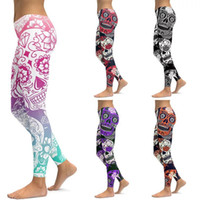 Wholesale 3t yellow leggings - Nightmare Before Christmas Leggings Christmas Fun Skull Prints Halloween Stretchy Low Waist Legging Pants for Adults Plus Size to 4XL Yoga