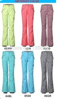 Wholesale 2015 womens ski pants female snowboarding pants winter sports trousers ski jupon waterproof K top quality XS L multicolor snow pants