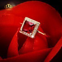 Wholesale Natural Ruby Gold Ring 18k - Engagement Hot sale Wholesale 18k rose gold plated square princess cut natural ruby red tourmaline rings for women