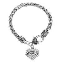 Hot Selling Rhodium Plated Single-Sided Heart Rhinestone Pendant Mean MAJORETTE \ MASSAGE Bijoux Femme Bracelets
