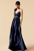 Wholesale Spaghetti V Neck Homecoming Dress - 2015 Navy Blue Sexy V Neck Evening Dresses with Sash Spaghetti Strap Backless Prom Dresses Floor Length Formal Homecoming Dresses
