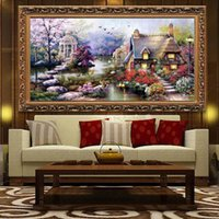 Wholesale Cloth Printing Designs - DIY Hobby Handmade Needlework Cross Stitch Kits Embroidery Set Printed Garden Cottage Design Stitching 65*40cm Home Decoration