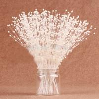 hochzeit 99 großhandel-Perle Blume 99 stücke (3 stücke / bündel 33 bundles) 3mm Weiß / Elfenbein Perle Sticks Hochzeit Dekoration Bouquet Kuchen Zubehör Für DIY