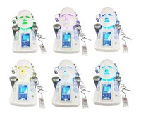 Wholesale ultrasonic facial home - 7 in 1 hydra facial water dermabrasion ultrasonic oxygen spray gun skin deep cleansing 7 colors LED mask spa home use beauty machine