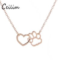 Wholesale Jewelry Owner - Fashion Linked Heart and Hollow Dog Paw Claw Pendant Charms Necklaces Gold Silver Pet Dog Animal Jewelry Gift for Dog Owners New Arrivals