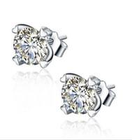 925 joyas de corea al por mayor-Nueva llegada 925 plata esterlina CZ Corea Europa realmente en forma de corazón pendientes hipoalergénicos oreja moda joyería
