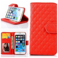 Wholesale Iphone Case Sheepskin - Grid Leather Cases For iPhone 5 6 7G Plus Samsung S7 edge Note7 Sony Z4 Wallet Case Photo Frame Sheepskin Flip Card Slots