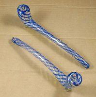 cuchara de mano larga al por mayor-10 pulgadas de largo sherlock de cristal gigante que fuma la mano pipa azul del burbujeador bong el envío libre WYK-203