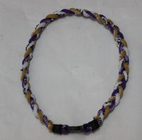 "Wholesale Purple Braid Necklace - Purple gold white titanium braided 3 ropes necklace tornado SPORTS football baseball new tornado necklace pendant Fashion jewelry 18"" 20""22"""
