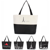 Wholesale Eiffel Shopping Bag - 2015Large Space Women Canvas Handbag Zipper Shopping Shoulder Bag Paris Eiffel Tower Pattern Girls Beach Bookbag Casual Tote Fashion 1104