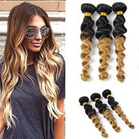 Wholesale ombre real hair resale online - Ombre Hair Extension Real Human Hair Loose Wave Bundle Black to Blonde Tone Color Grade A Virgin Brazilian Loose Wave Weft