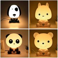 Wholesale Pretty Lamps - Pretty Cute Panda Bear Cartoon Animal Night Light Baby Room Sleeping Light Bedroom Desk Lamp Night Lamp Best for Gifts