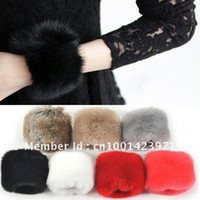 Wholesale Wristband Fur - Free Shipping Rabbit Fur Women's Colorful Wristband Cuff Sleeve
