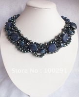 Wholesale Lapis Pearl Jewelry - Wholesale-Amazing blue lapis lazuli & freshwater pearl flower necklace wedding jewelry party necklace holiday gift   Free ship