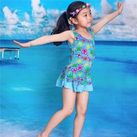 Wholesale Babies Wear Wholesales China - Wholesale- 2016 girl one piece baby swimwear kids girls swim wear swimsuit toddler print cheap china clothes free shipping for WJS-8625
