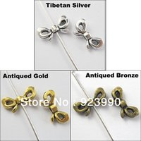 Wholesale Tibetan Butterfly Spacer - Free Shipping 60Pcs Tibetan Silver Gold Bronze Tone Butterfly-Bow Spacer Beads Charms 6x12mm For Jewelry Making Craft DIY