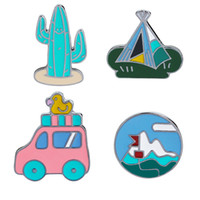 Wholesale White Tent Party - Retro Travel Cars with Duck Tent Cactus Lapel Pin Enamel Brooch Denim Jacket Badge Funny Camping Pin for Women Girl Boys Kids