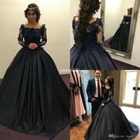 vestido preto laço completo longo venda por atacado-Preto 2020 Ball vestido Prom luva longa Full Lace apliques Custom Made Wear Sexy Evening