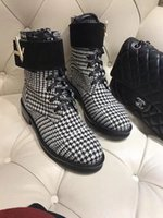 [Original Box] New Luxury Womens Outdoor Ankle Half Waterproof Winter Houndstooth Leather Booties Ladies High Top Martin Shoes Tamanho 35-41