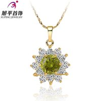 Wholesale Xuping Gold Filled Necklace - Xuping necklace female plated 18K gold colored zircon flower necklace short paragraph clavicle birthday gift sunflower