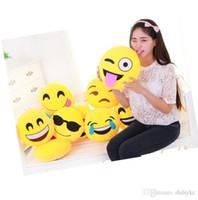 ingrosso smiley giallo-Emoticon emoticon morbido giallo Cuscino rotondo morbido cuscino carino divertente farcito peluche bambole regalo di Natale