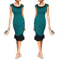 Wholesale Slim Cocktail Dresses - S5Q Women's Flouncing Dresses Slim Lotus Leaf Skirt Cocktail Party Evening Bodycon Evening Vintage Skirt AAAECS