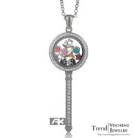 Wholesale Glass Locket Key Chains - Key Magnetic Glass Floating Charm Locket Living Memory Locket Crystal Necklace with Stainless Steel Chain VA-067