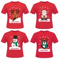 fa0ee60ef65 Christmas Funny Short T-shirts Santa Claus Elk Penguin Summer Short Sleeve  Printed Tops Tee Shirts LJJO3637