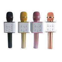 bluetooth karaoke toptan satış-Q7 Bluetooth Mikrofon Ile Taşınabilir El Kablosuz KTV Karaoke Player Hoparlör MIC Hoparlör iPhone 7 Için Artı Samsung S7 Kenar