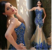 Wholesale Blue Crystal Evening Dress - 2016 Luxury Dubai Saudi Arabic Evening Dresses Sexy Sheer Neck Royal Blue Beaded Crystal Mermaid Prom Dresses Party Evening Gowns