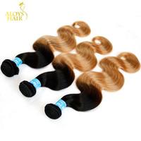 Wholesale 22 Wavy Blonde Hair Extensions - Ombre Peruvian Virgin Hair Extensions Body Wave Wavy Grade 8A Two Tone 1B 27# Honey Blonde Ombre Peruvian Remy Human Hair Weave Bundles