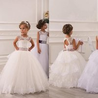Wholesale Baby Girl Dresses Blue Lace - 2015 Spring Flower Girl Dresses Vintage Jewel Sash Lace Net Baby Girl Birthday Party Christmas Princess Dresses Children Girl Party Dresses