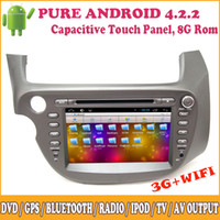 Wholesale Honda Jazz Gps - Android Quad Core Car Dvd Player 2Din GPS Navigation for Honda Old Fit Jazz 2007 2008 2009 2010 2011 2012 2013