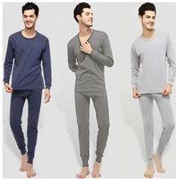 Wholesale Underwear Sets L Size - Factory Price Cotton Men Thermal Underwear Set Autumn Winter Thin Long Johns Tops and Pants Plus Size Long Sleeve Underclothes