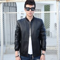 Wholesale mens silver leather jacket - Wholesale- 2017 New Men Leather Jacket Fur Stand Collar Motorcycle Jaqueta Masculinas Jacket Mens fashion Casual jackets Leather coat Tops