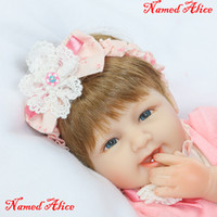 Wholesale Named Baby Gifts - Bebe Silicone Reborn Baby Doll Toys Lifelike 40cm Reborn Babies Named Alice Girl Doll Kids Child Birthday Gift Girl Boneca