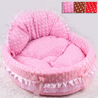 Wholesale Dog House Cat Beds - Free Shipping 2016 Hot Luxury Dog Princess Bed Lovely Pet Dog Cat Beds Sofa Comfort Puppy Sleeping Beds Teddy House for Dogs HT0011 Salebags