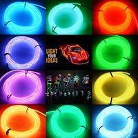 Wholesale Inverter Neon - New Multicolor Flexible 5M EL Wire Rope Tube Neon Cold led Light Party Dance Car Decor Without 2AA battery inverter Free Shipping DHL
