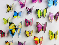 Wholesale Wall Sticker Kids Butterfly - The simulation 3D butterfly decoration PVC wall stickers fridge magnet 12 suits suit for outdoor garden balcony